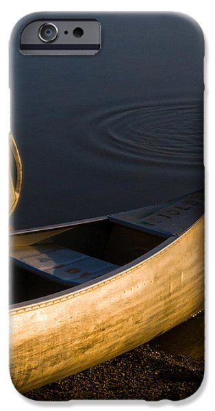 Canoe iPhone Cases - At Sunrise iPhone Case by Dale Kincaid