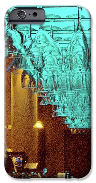 Wine Reflection Art iPhone Cases - At The Bar iPhone Case by Ben and Raisa Gertsberg