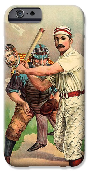 Antiques iPhone Cases - At The Bat iPhone Case by Gary Grayson