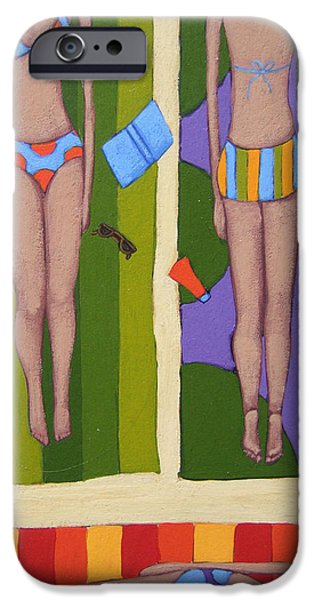 Bathing Drawings iPhone Cases - Bikinis At the Beach iPhone Case by Christy Beckwith