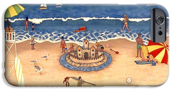 Sand Castles iPhone Cases - At the Beach iPhone Case by Linda Mears