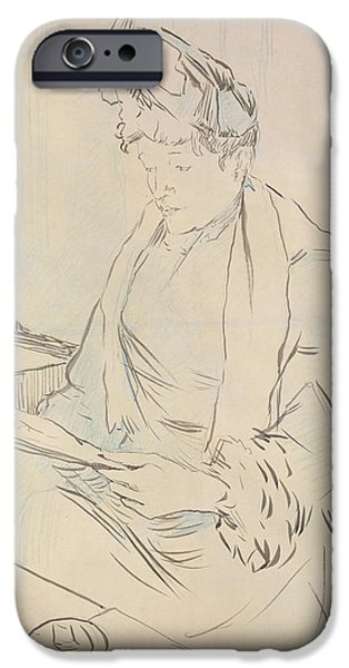 Female Drawings iPhone Cases - At the Cafe iPhone Case by Henri de Toulouse-Lautrec