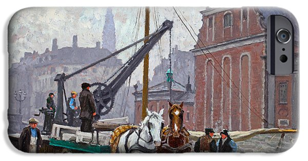 Horse And Buggy iPhone Cases - At the Church of Holmen iPhone Case by Paul Gustav Fischer