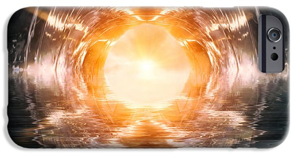 Abstract Digital Digital Art iPhone Cases - At The End of The Tunnel iPhone Case by Wim Lanclus