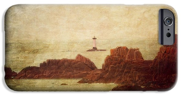 Lighthouse iPhone Cases - At the entrance of the Mont Saint-Michel Bay iPhone Case by Loriental Photography