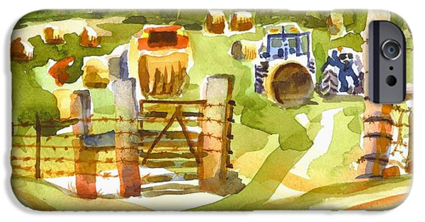 Baptist Paintings iPhone Cases - At the Farm Baling Hay iPhone Case by Kip DeVore