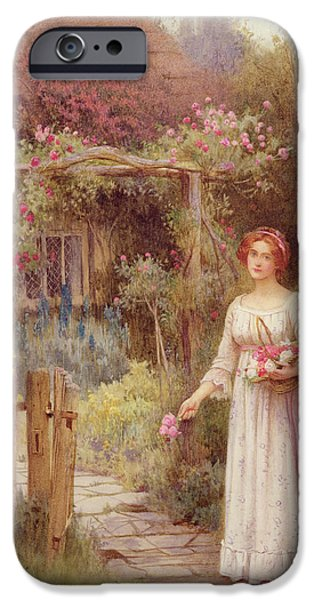 Victorian Drawings iPhone Cases - At The Garden Gate iPhone Case by William Affleck