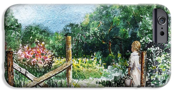 Young Paintings iPhone Cases - At The Gate Summer Landscape iPhone Case by Irina Sztukowski