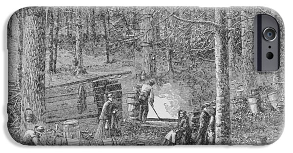 Collects iPhone Cases - At The Maple Syrup Camp, Illustration From Harpers Weekly, 1867, From The Pageant Of America iPhone Case by American School