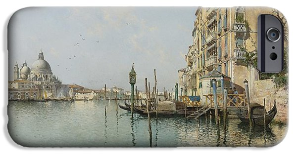 1907 Paintings iPhone Cases - At The Mouth Of The Grand Canal iPhone Case by Emilio Sanchez Perrier