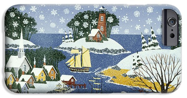 New England Snow Scene iPhone Cases - At the Neighbors Request iPhone Case by Merry  Kohn Buvia