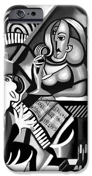 Piano iPhone Cases - At The Piano Bar iPhone Case by Anthony Falbo