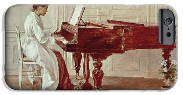 Grand Piano Paintings iPhone Cases - At the Piano iPhone Case by Theodore Robinson