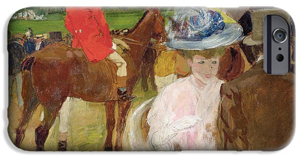 The Horse iPhone Cases - At the Races at Auteuil iPhone Case by Leon Georges Carre