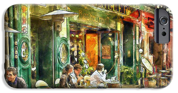 French Open iPhone Cases - At the Restaurant in Paris iPhone Case by Marian Voicu