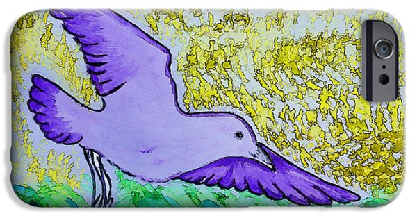 Flying Seagull Paintings iPhone Cases - At the sushi market iPhone Case by Jo Ann