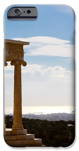 Athens Ruins iPhone Cases - Athens and the Sea from the Acropolis iPhone Case by Anthony Doudt