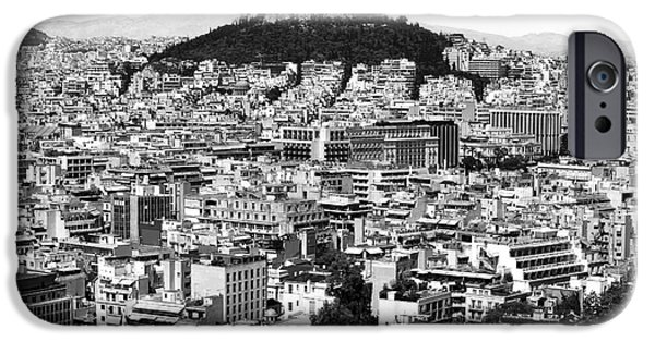 Greek School Of Art iPhone Cases - Athens City View in black and white iPhone Case by John Rizzuto