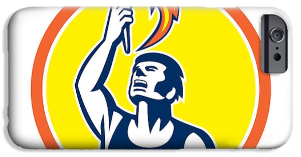 Athlete Digital Art iPhone Cases - Athlete Player Raising Flaming Torch Circle Retro iPhone Case by Aloysius Patrimonio