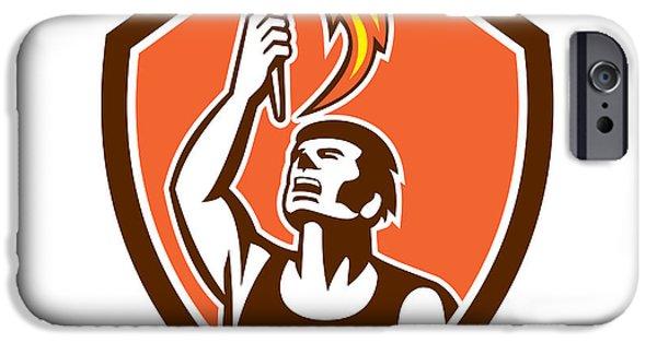 Athlete Digital Art iPhone Cases - Athlete Player Raising Flaming Torch Shield Retro iPhone Case by Aloysius Patrimonio