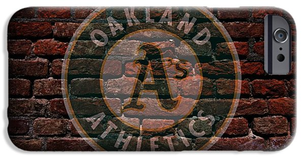 Shortstop iPhone Cases - Athletics Baseball Graffiti on Brick  iPhone Case by Movie Poster Prints