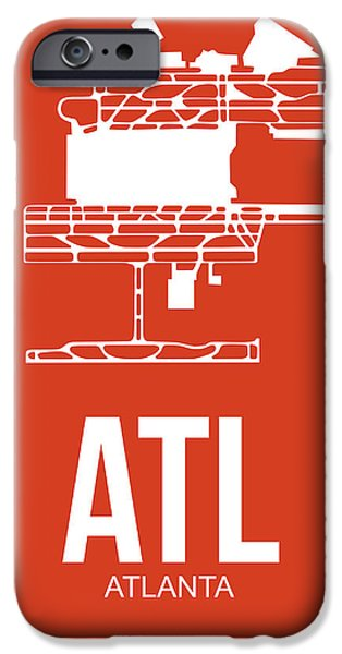 Town Mixed Media iPhone Cases - ATL Atlanta Airport Poster 3 iPhone Case by Naxart Studio
