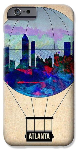 Town iPhone Cases - Atlanta Air Balloon  iPhone Case by Naxart Studio
