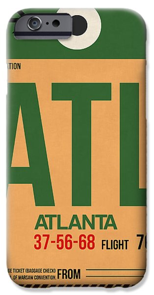 Town iPhone Cases - Atlanta Airport Poster 1 iPhone Case by Naxart Studio
