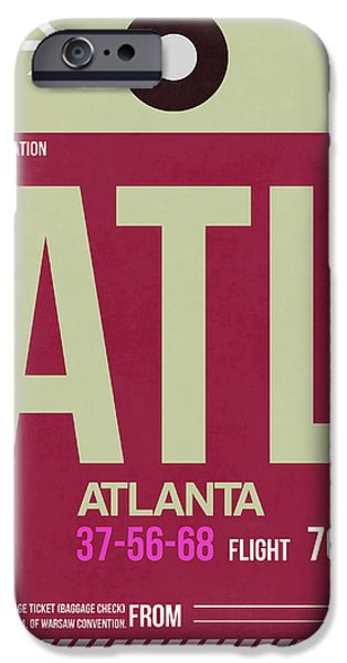 Town iPhone Cases - Atlanta Airport Poster 2 iPhone Case by Naxart Studio
