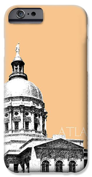 Pen And Ink iPhone Cases - Atlanta Capital Building - Wheat iPhone Case by DB Artist