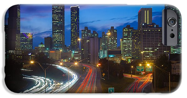 North America Photographs iPhone Cases - Atlanta downtown by night iPhone Case by Inge Johnsson
