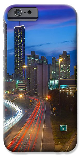 Atlanta downtown by night iPhone Case by Inge Johnsson