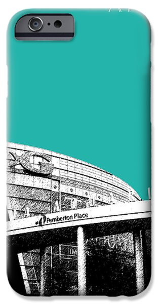 Pen And Ink iPhone Cases - Atlanta Georgia Aquarium - Teal Green iPhone Case by DB Artist