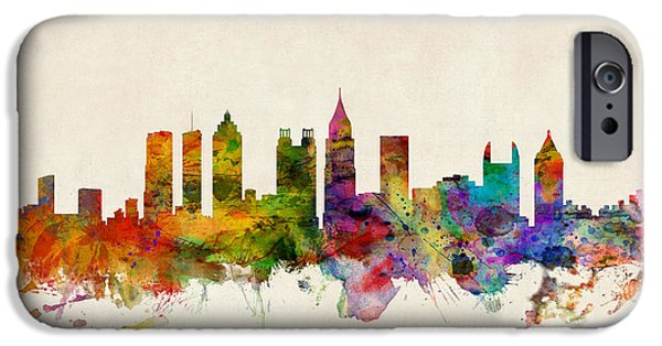 Watercolor iPhone Cases - Atlanta Georgia Skyline iPhone Case by Michael Tompsett