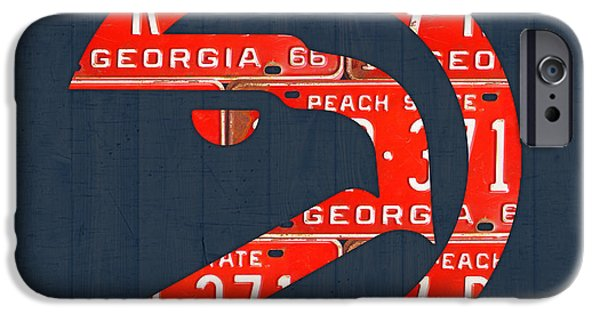 Basketball Team iPhone Cases - Atlanta Hawks Basketball Team Retro Logo Vintage Recycled Georgia License Plate Art iPhone Case by Design Turnpike