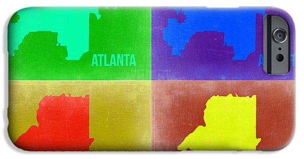 Street Mixed Media iPhone Cases - Atlanta Pop Art Map 2 iPhone Case by Naxart Studio