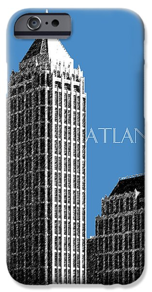Pen And Ink iPhone Cases - Atlanta Skyline 1 - Slate Blue iPhone Case by DB Artist