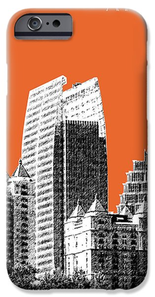 Pen And Ink iPhone Cases - Atlanta Skyline 2 - Coral iPhone Case by DB Artist