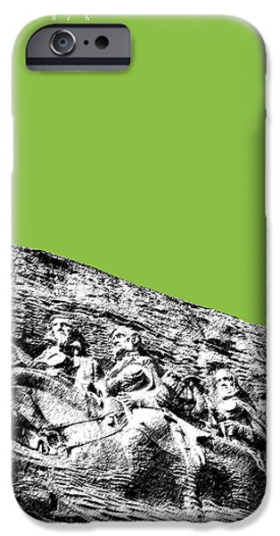 Pen And Ink iPhone Cases - Atlanta Stone Mountain Georgia - Apple Green iPhone Case by DB Artist