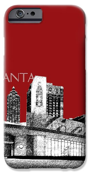 Pen And Ink Digital Art iPhone Cases - Atlanta World of Coke Museum - Dark Red iPhone Case by DB Artist