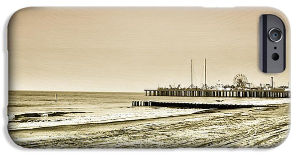 Casino Pier iPhone Cases - Atlantic City Beach in Sepia iPhone Case by Bill Cannon
