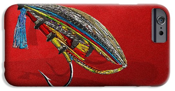 Cabin Corner iPhone Cases - Atlantic Salmon Dry Fly on Red iPhone Case by Serge Averbukh