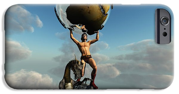 Handsome People iPhone Cases - Atlas Greek God iPhone Case by Corey Ford
