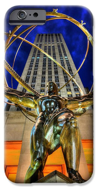 The Heavens iPhone Cases - Atlas Statue at Rockefeller Center iPhone Case by Randy Aveille