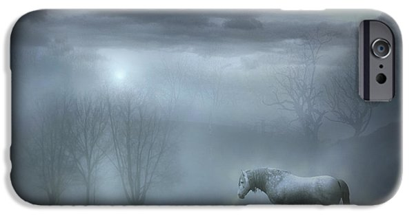 Horse Digital Art iPhone Cases - Atmospheric Night iPhone Case by Jennifer Woodward