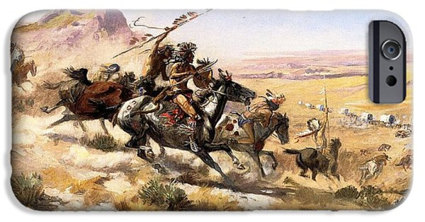 Attack iPhone Cases - Attack On The Wagon Train iPhone Case by Charless Russell