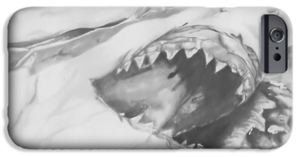Shark Drawings iPhone Cases - Attack iPhone Case by Raquel Ventura