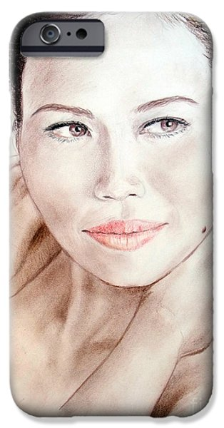 Beauty Mark iPhone Cases - Attractive Asian Woman with Her Hair Pulled Back iPhone Case by Jim Fitzpatrick