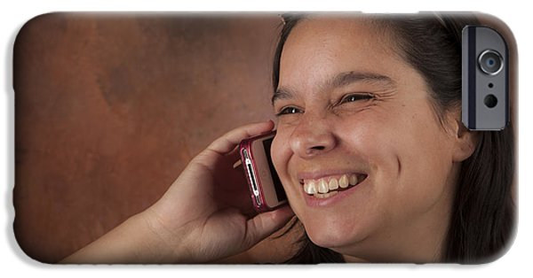 Akimbo iPhone Cases - Attractive Brunette Woman Talking on Her Cell Phone iPhone Case by Joel  Bourgoin