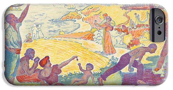 Pastimes iPhone Cases - Au Temps dHarmonie iPhone Case by Paul Signac